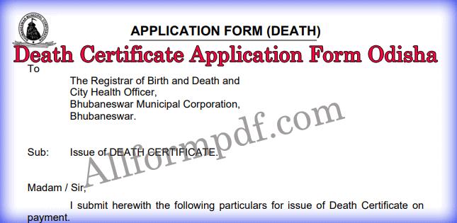 Death Certificate Application Form Odisha