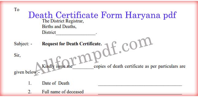 Death Certificate Form Haryana