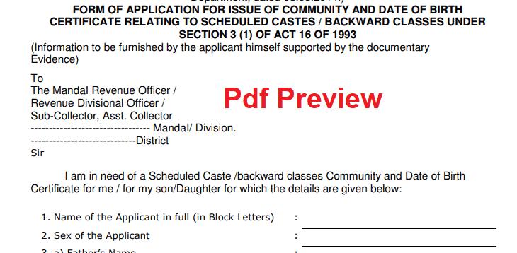 Caste Certificate Application Form Telangana
