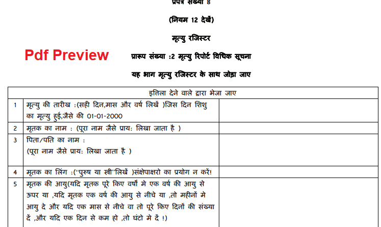 Death Certificate Form Himachal Pradesh