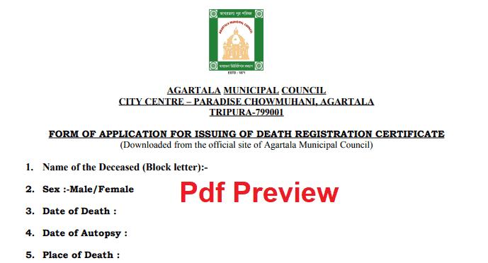 Death Certificate Form Tripura