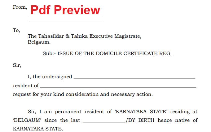 Domicile Certificate Form pdf Karnataka