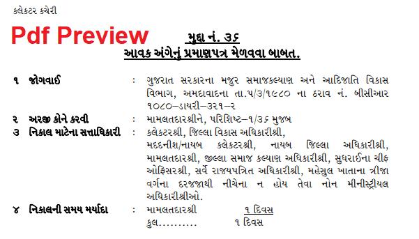 Income Certificate Form Gujarat