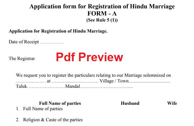 Marriage Certificate Form Telangana