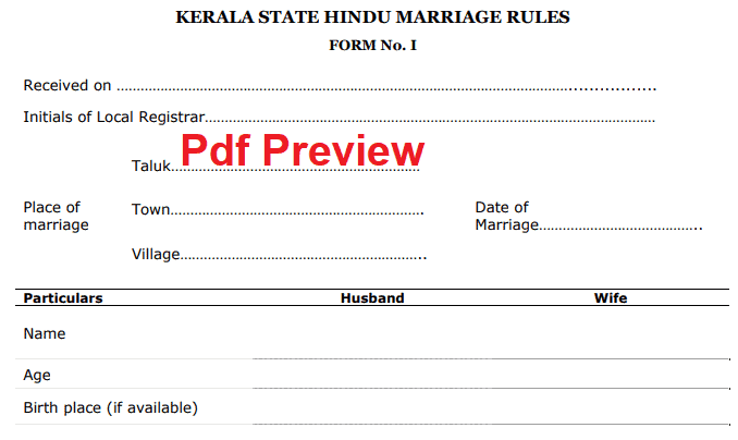 Marriage Registration Form Kerala