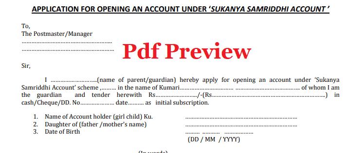 Sukanya Samriddhi Yojana form pdf